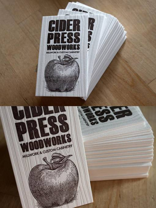 Unique Letterpress Business Cards - Cider Press WoodWorks