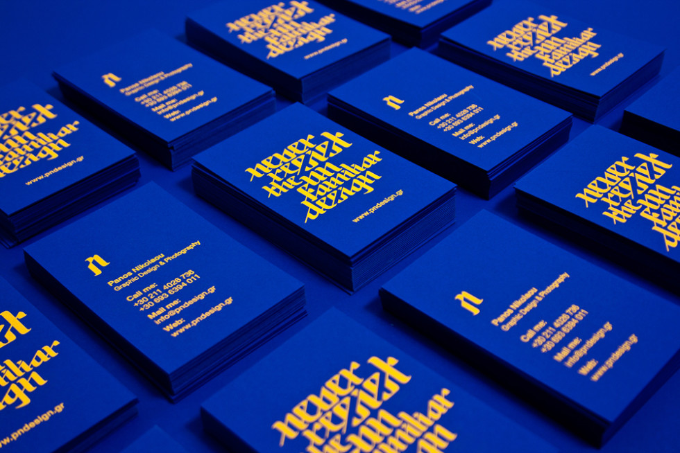 Custom Blue Business Cards - Panos Nikolau