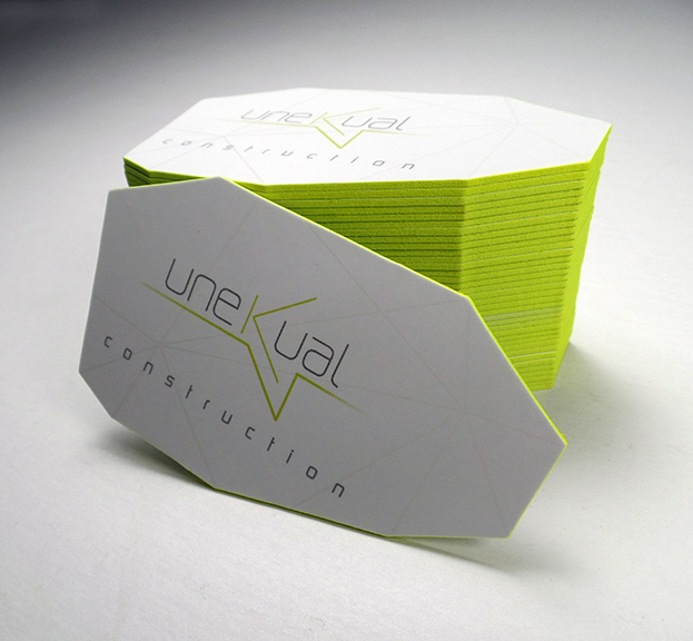 Complete stationary re-design for Miami based high end construction company UNEKUAL Construction.The cards are triple laminated 32Pt paper, spot UV, edge-painting and finally die cut. The card is heavy, and makes an impressive impact on the holder.