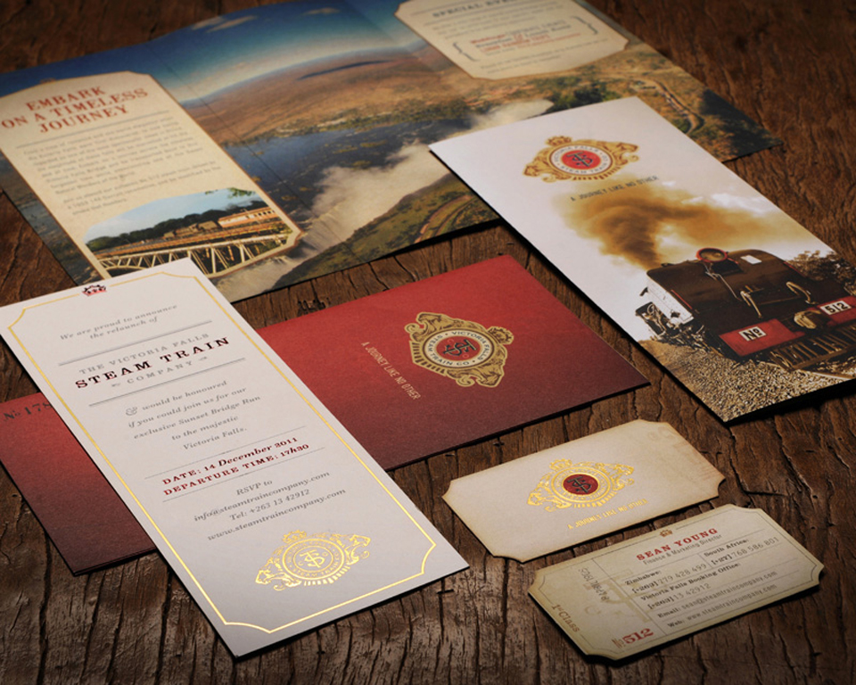 Unique Die-Cut Business Cards - Steam Train Identity