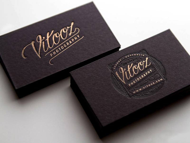 Cool black letterpress business card vitooz photography cool black letterpress business card vitooz photography 2 reheart Gallery