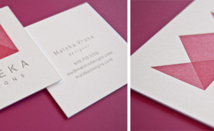 Pink Square Letterpress Business Card - Malenka Designs