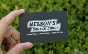 Black Metal Business Card - Helson's Garage Doors