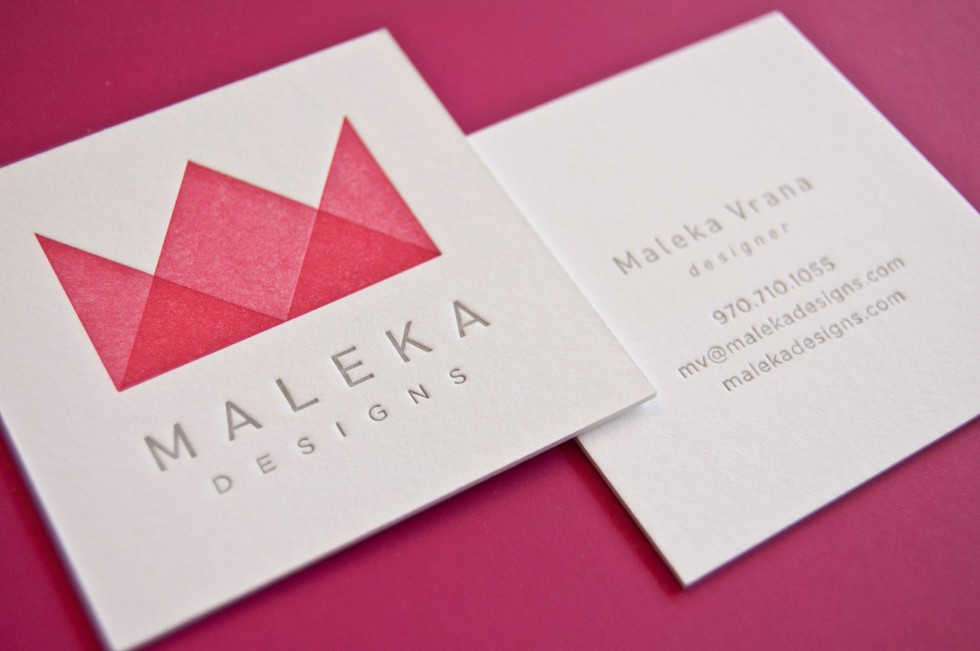 Square Letterpress Business Card - Maleka Vrana
