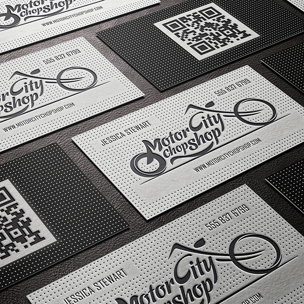Embosed letterpress business card motor city chopshop cardrabbit the embossed letterpress business card for motor city chopshop a motorcycle repair shop in detroit michigan this card was designed and printed by company reheart Choice Image